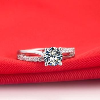 Solid Platinum 1CT Brilliant Moissanite Diamond Ring  5