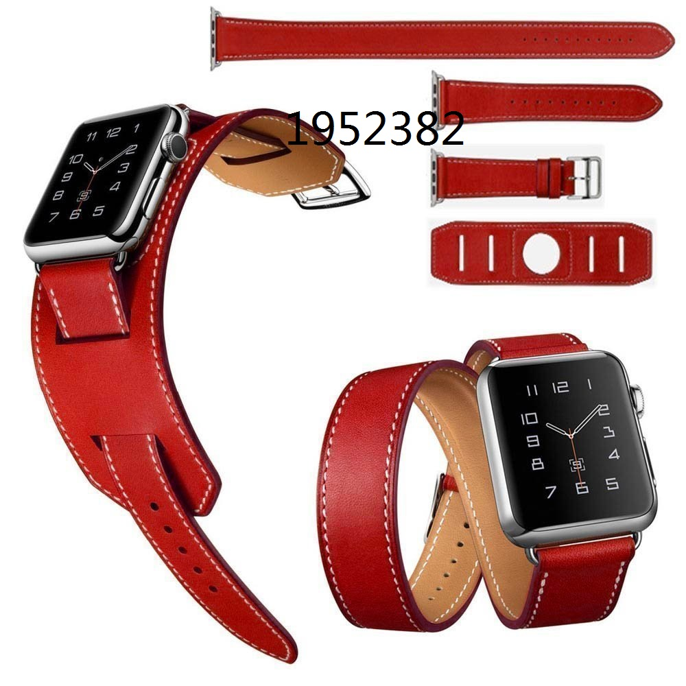 2016 Men and women 3 in1 Genuine Leather watch Strap 42mm WatchBands for apple watchband 38mm iwatch+1:1 Original Metal Adapters