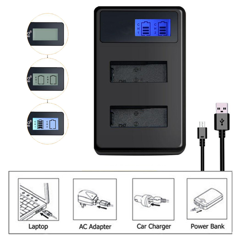 Portable LCD Display USB Dual Battery Dock Charger Charging For Sony NP-BX1 NP-FW50/FV50 NP-FM50/F970/F550 NP-FH30/50/60/70/100