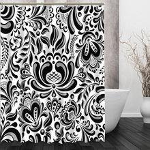 Custom Black white pattern Shower Curtain New unique design Eco friendly Bathroom beautiful Curtains