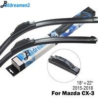 Buildreamen2 Car Wiper Blade Front Windscreen Rubber Wiper For Mazda CX 3 CX3 Fit Hook Arms 2015 2016 2017 2018