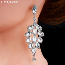 jiayi jiaduo Silver color wedding jewelry earrings long crystal flower earrings dress accessories charm women's gift new 2018(China)
