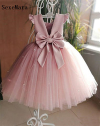 Lovely Pink Girls Dresses For Birthday Ball Gowns With Bow Pearls Ankle Length O-Neck Kids Pageant Dress Pageant Gowns