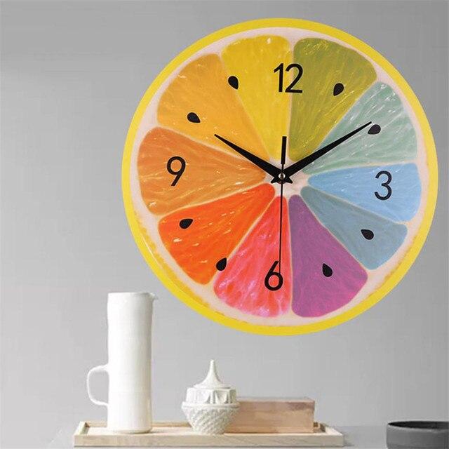 Nowy Wzór Owoce Wystrój Zegary Ścienne 1 pc Cicha Sweep Elegancki Kreatywny Zegar Dekoracja Wnętrz Nowoczesne Home Decor Zegar 35