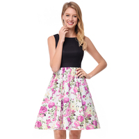 Fashion Women Summer Sleeveless Printed Dress With Open Back Lady Swing Casual Dresses Skater Dress
