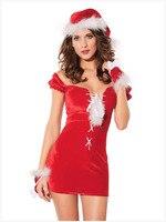 Sexy Cosplay Erótico Camisón de Las Mujeres Cosplay Uniforme Mujeres Lencería Sexy Señora de Las Mujeres de Halloween Vestido de Fiesta Rojo Con Sombrero