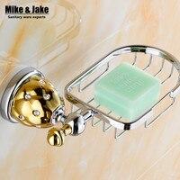 New Design Chrome Golden Brass Soap Basket Soap Dish Soap Holder Bathroom Accessories Bathroom Furniture Accessories