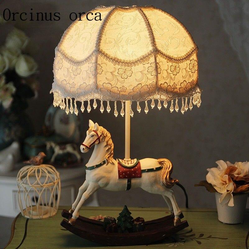 Dream fairy tale Trojan horse bedroom bed head  American  style  French  European  Korean  girl  Princess desk lamp|Desk Lamps|Lights & Lighting - title=