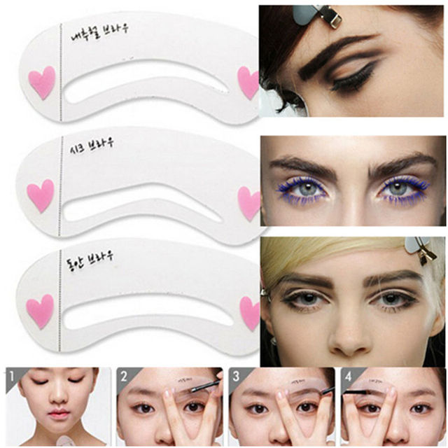 3Pc Korean Makeup Magic Eyebrow Stencil Shapes 3 Styles Template Reusable Eyebrow Card Aid Easy Makeup Eye Cosmetic Tools 2