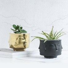 Творческий Дизайн кашпо 3D лицо многогранный белый скандинавский Керамика небольшие декоративные вазы цветочный горшок украшения дома