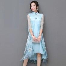 Китайский Стиль Cheongsam синий шелковое платье Два Слои высокое качество элегантный стенд воротник с Платье с цветочным узором женские Vestidos S-3XL