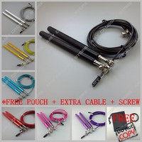 Free Pouch 3 Meters METAL BEARING And Handle Skipping Rope Speed Cable Jump Rope Crossfit MMA