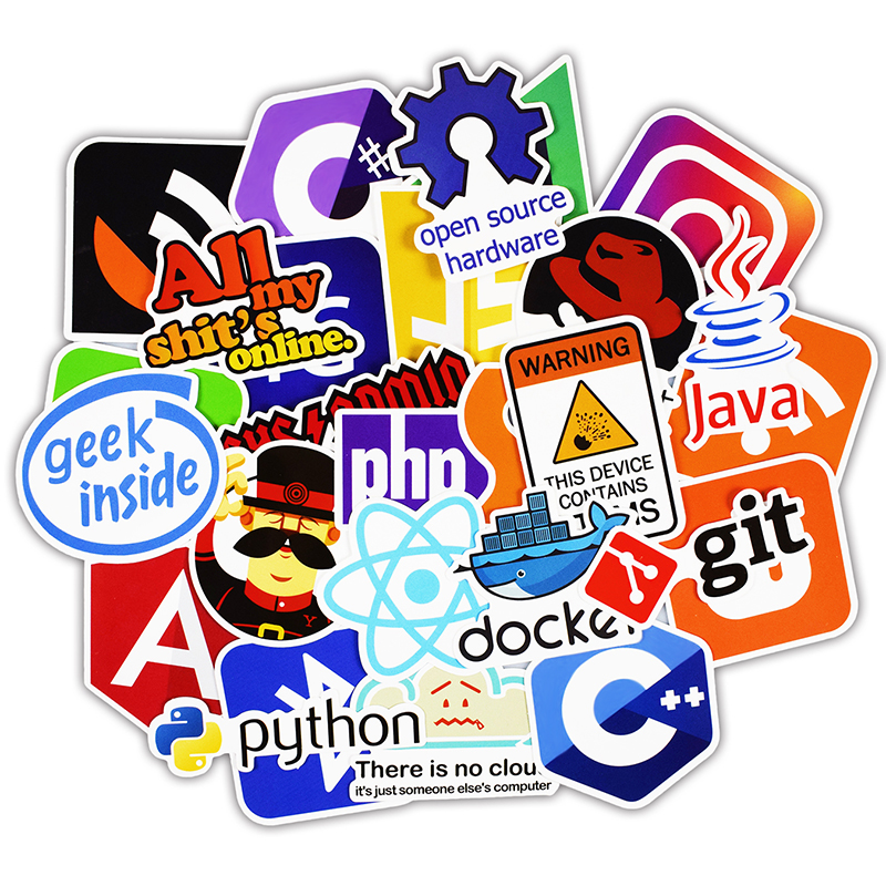 US $1 97 34% OFF|50 Pcs Java Internet JS Php Docker Bitcoin Html Cloud  Programming Language APP Logo Funny Stickers for Laptop Car DIY Stickers-in
