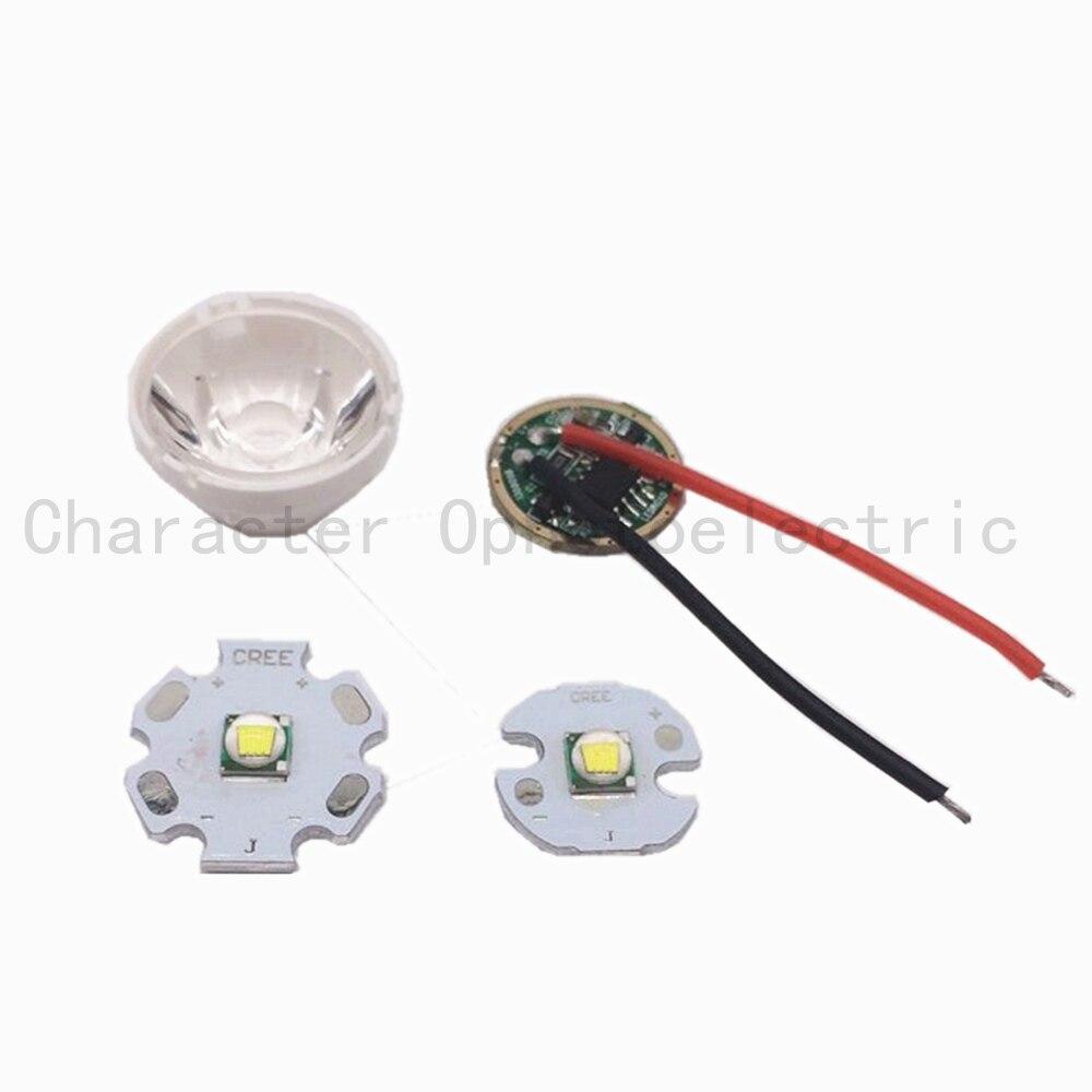 1set Cree XM-LED T6 White with 16MM/20MM Star PCB Light + 3.7V Driver +15 degree Lens Base Holder