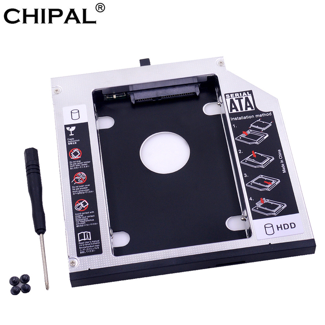 "CHIPAL de aluminio 2nd HDD Caddy 12,7mm SATA 3,0 para 2,5 ""SSD caso HDD para Lenovo ThinkPad T420 t430 T520 T530 DVD-ROM"