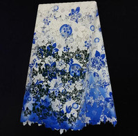 (5yards/lot)TXL26-01!White and blue color mixed African cord lace flower design African crochet lace fabric