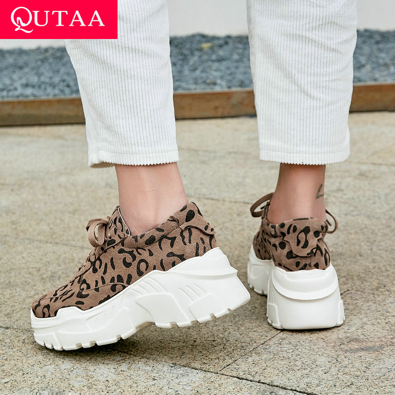 QUTAA 2020 Women Shoes Cow Leather pu All Match Platform Wedges All Match Leopard Women Pumps