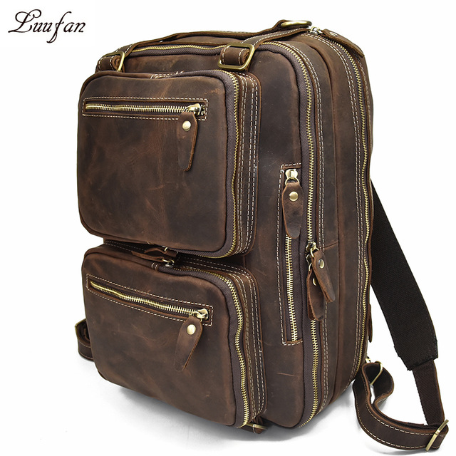 "Men Genuine Leather Laptop Backpack 15"" Pc Crazy Horse Leather Business Bag 2 Use Cow Leather Shoulder Bags 3 Layer Work Tote"