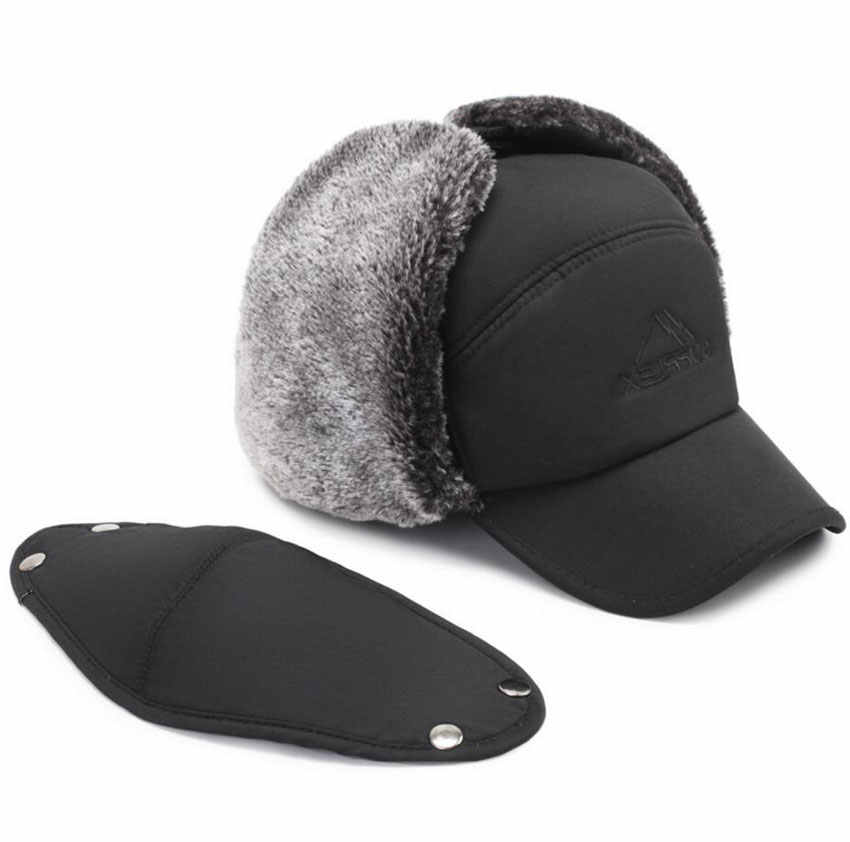 d55e9484255d3 ... Mens Winter Hats Ear Flaps Bomber Hats With Brim And Face Mask Warm Hat  For Men ...