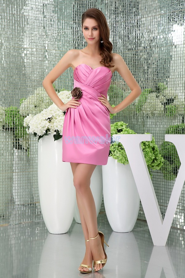free shipping modest 2016 new design hot sale straps custom size plus size handmade flower sexy gown short pink   Bridesmaid     Dress