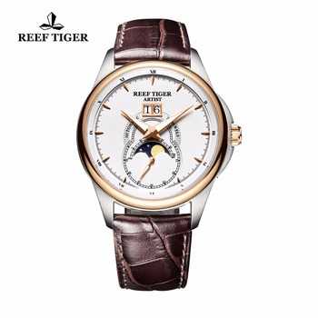 Reef Tiger/RT Fashion Watches for Men Double Window Date Genuine Leather Strap Watch Mechanical Moon Phase Watches RGA1928