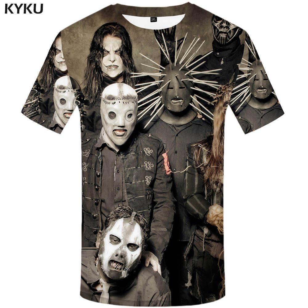 8f57309e013bf KYKU Brand Gothic T shirt Slipknot Clothing Punk Shirts Rocking Tees  Clothes Tops Men 3d T
