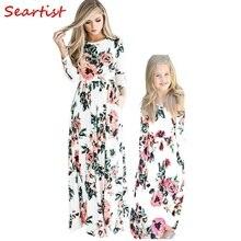 Seartist 2018 новое платье для мамы и дочки мать и девочка платья Для детей, на лето Длинные рукава Цветочный пляжное богемное вечерние платье C46