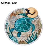 Silstar Tex Sea Turtle Round Beach Towel With Tassels For Summer Microfiber Octopus 150cm Swimming Bath Towels Picnic Blanket