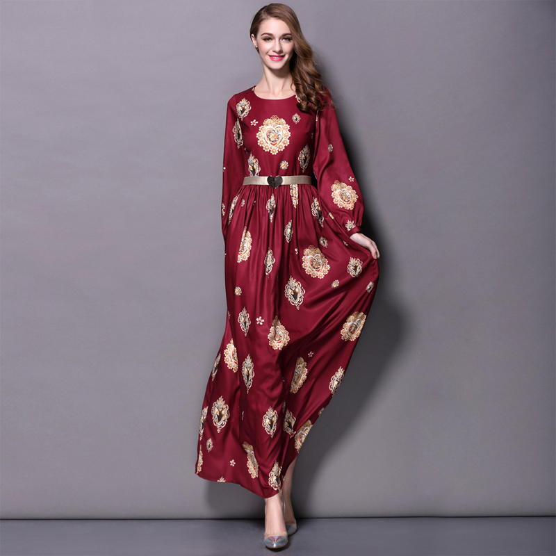UK European 2018 Autumn Runway New Fashion High quality silm O neck Long Sleeve Ladies Burgundy Vintage maxi dress S XXXXL