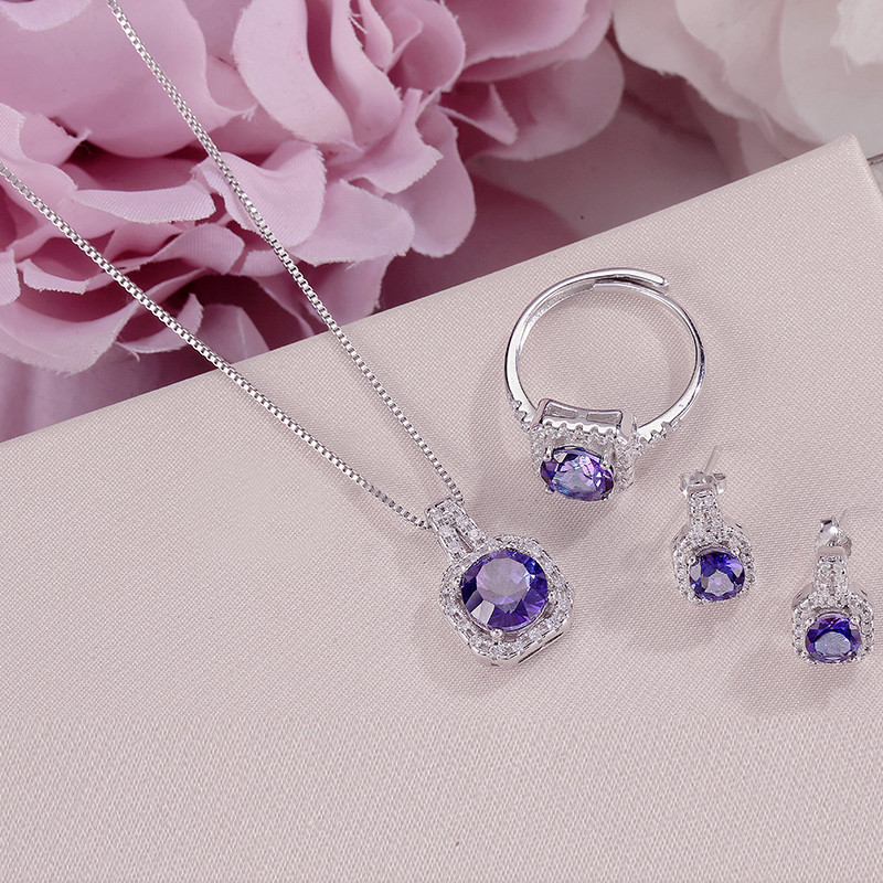 Fine Jewelry Sets For Women S925 Silver 100 Natural Tanzanite Square Blue Gemstone Ring Necklace Pendant