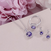 Fine Jewelry Sets For Women S925 Silver 100% Natural Tanzanite Square Blue Gemstone Ring Necklace Pendant Stud Earrings CCS009