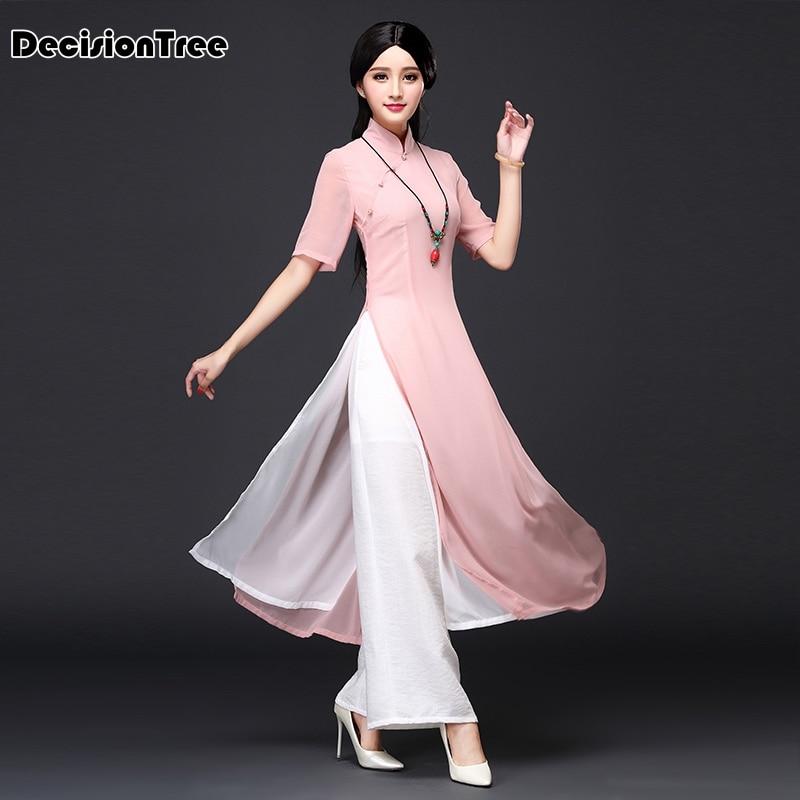2017 musim panas vietnam ao dai pakaian tradisional Cina cina pakaian - Pakaian kebangsaan - Foto 2