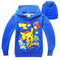 Мальчики Футболка Pokemon Идти Cartton девочки футболка с длинным рукава хлопка С Капюшоном Футболки Детская Одежда boystops и тройники для дети