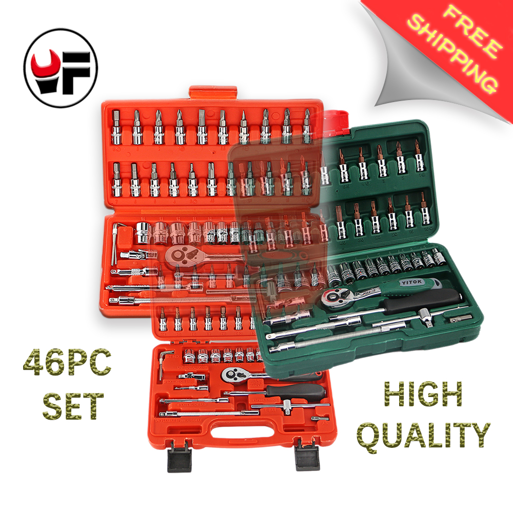 YOFE  Free Shipping 3 kind 46pc High Quality Socket Set Car Repair Tool Ratchet Set Torque Wrench Combination Bit a set of keys 7pcs8 10 12 13 14 17 19mmfixed head the key ratchet combination wrench set auto repair hand tool a set of keys ad2012