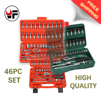 YOFE Free Shipping 3 Kind 46pc High Quality Socket Set Car Repair Tool Ratchet Set Torque