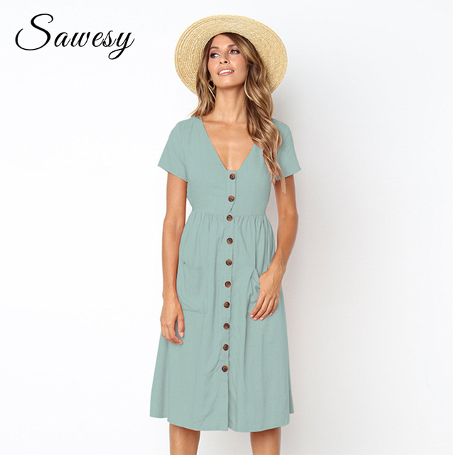 82b293fc48a Casual Midi Dress Women 2018 Fashion Short Sleeve Solid Summer Dresses With Pockets  Vintage Women Dresses Red Green Blue Pink