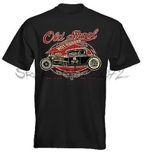 Velocitee Mens T-Shirt Old Skool Rat Hot Rod Muscle V8 Retro homens camiseta preta verão cotton teeshirt sbz5403 50's(China)