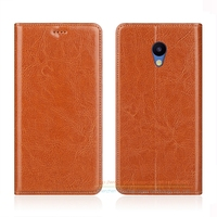 Business Crazy Horse Genuine Leather Case For Meizu M5 Mini M5 5 2 Invisible Magnet Stand
