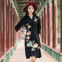 KYQIAO Traditional Chinese Dress 2017 Women Ethnic Dress Female Autumn Mexican Vintage Black Red Embroidery Dress