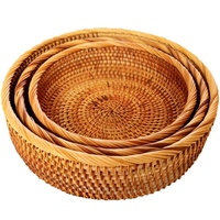 Hadewoven Round Rattan Fruit Basket Wicker Food Tray Weaving Storage Holder Dinning Room Bowl (3 Size Kit)