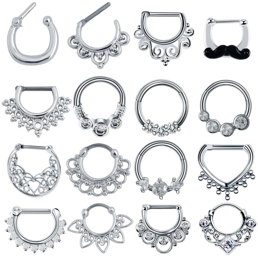 1 шт., кольца для пирсинга носа с этническим веером, 16 г, с фианитами, с драгоценными камнями, для ушей, Septums, Helix, Tragus, сексуальные украшения для ...
