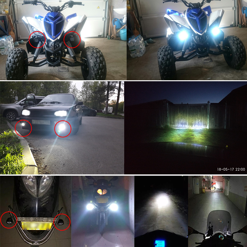 Motorcycle Scooter LED Headlight Fog DRL Spot Lights 6W Spotlight Foglamp External Mounted Lamp High Power Bright DIY Lighting 8