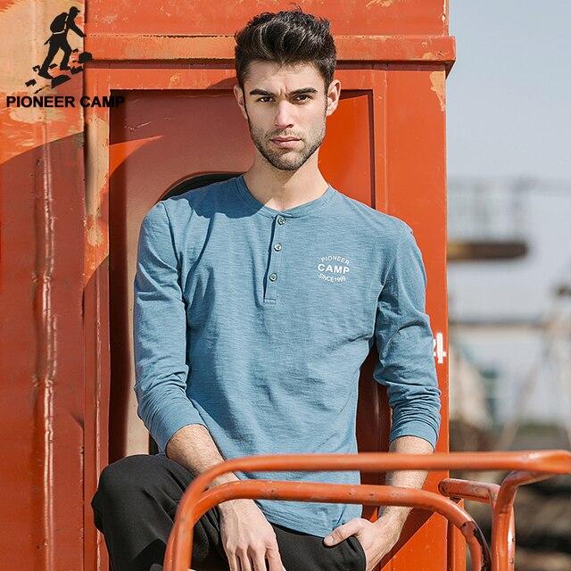 Pioneer camp. o envio gratuito de 2017 de moda de nova mens tshirts de manga longa slim t-shirt dos homens de personalidade da marca ativa clothing