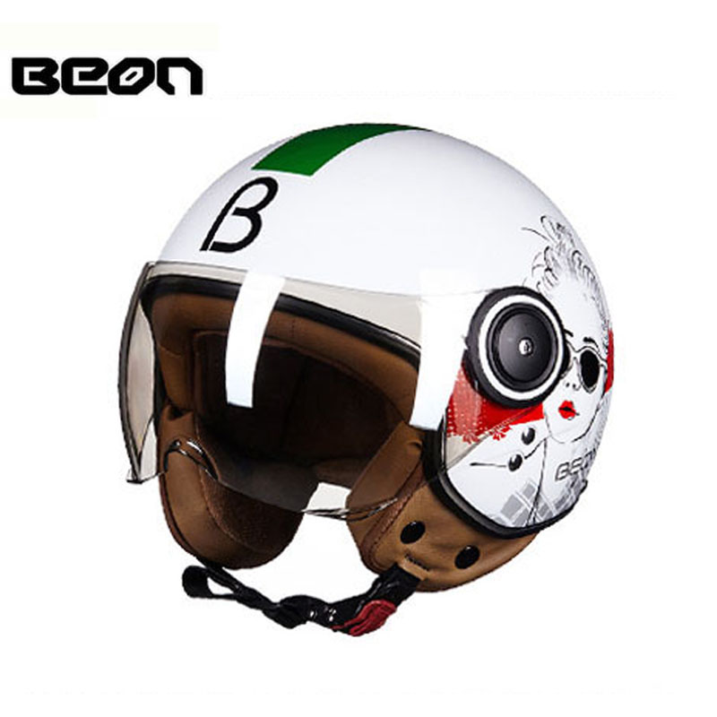 2018 Four seasons BEON retro womens electric motorcycle helmets open face motorbike moto biker scooter helmet girl Design B-110B 2017 new ece certification ls2 motocross motorcycle helmet ff352 full face motorbike helmets made of abs and pc silver decadent