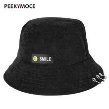 Peekymoce cubo sombreros al por mayor Smiley algodón Unisex mujeres verano  partido Street Patch Bucket sombrero 6f5c2d28933