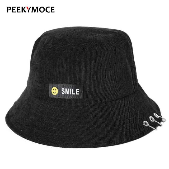 53c9d504497c9 Peekymoce Wholesale Bucket Hats Cotton Smiley Unisex Women Men hats Summer  Party Street Patch Bucket Hat Hip Hop Sad Boy Caps