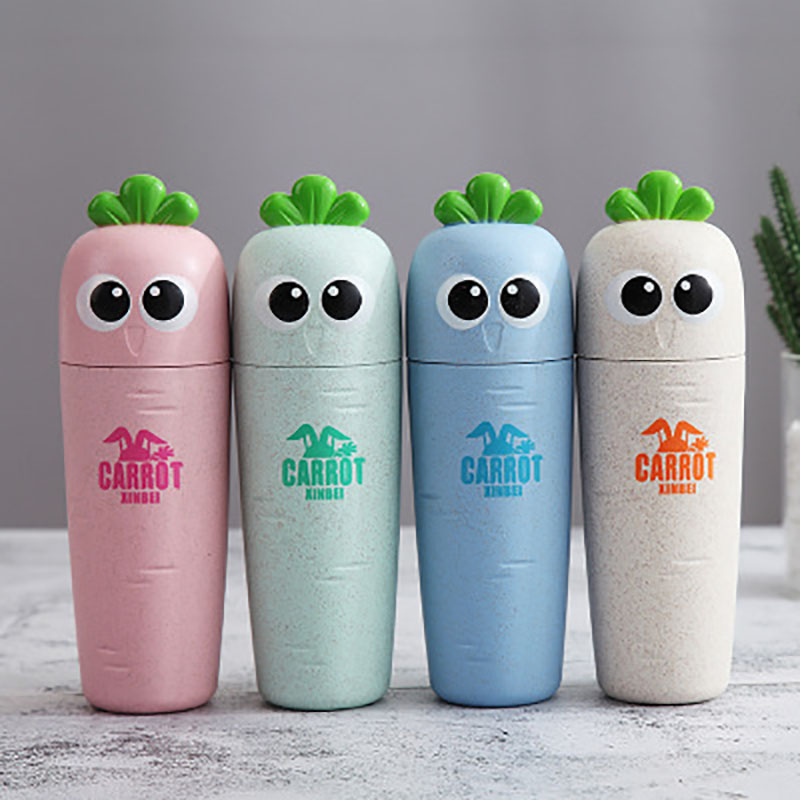 1pc Cute radish wheat straw Toothbrush Box Portable Travel Toothbrush Holder Sanitary Ware Suit Toothpaste Storage Box
