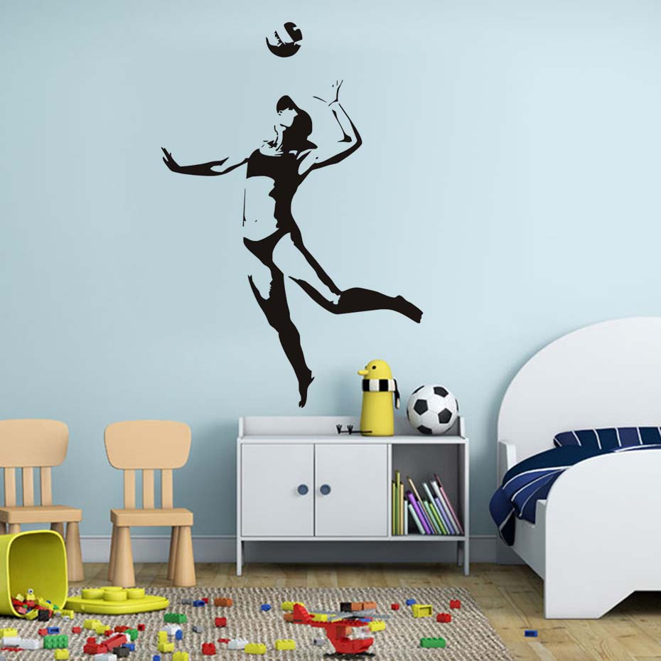 Silhouette Woman Playing Volleyball Wall Sticker Home Decor Living - How to make vinyl wall decals with silhouette
