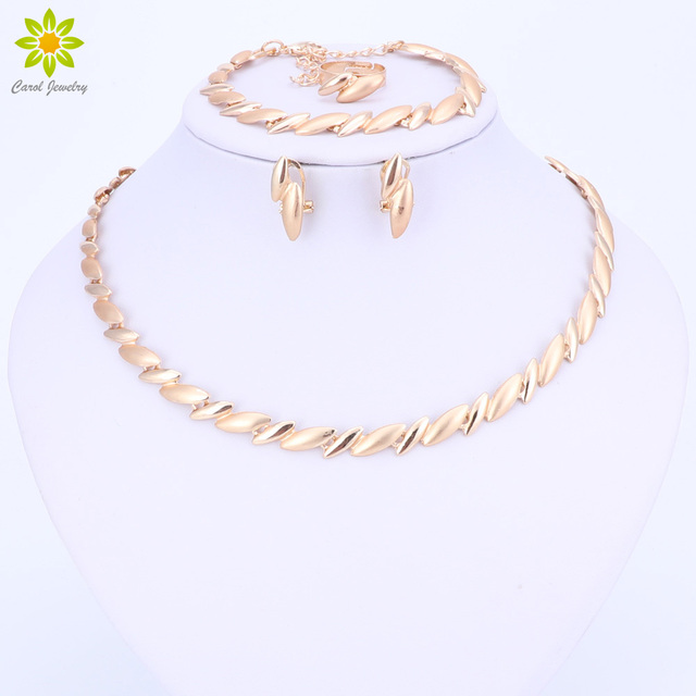 Fashion Wedding African Beads Jewelry Sets Dubai Gold Color Necklace Earring Set