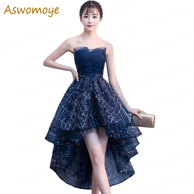e7855a5ab2728 US $56.09 15% OFF|Evening Dresses 2018 New Stylish Sexy Short Front Long  Back Party Dress Backless Stunning Sequins vestido de festa -in Evening ...